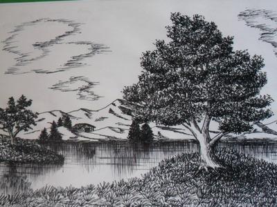 Como dibujar un paisaje natural a tinta, a base de texturas, mediante toda clase de trazos.