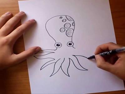 Como dibujar un pulpo paso a paso | How to draw a octopus