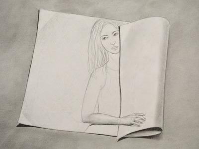 Cómo dibujar una mujer en un papel enrollado 3D - Arte Divierte.