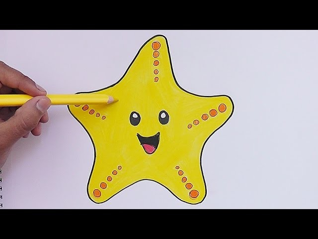 Como dibujar y pinar a Estrella de Mar - How to Draw and pine Estrella de Mar
