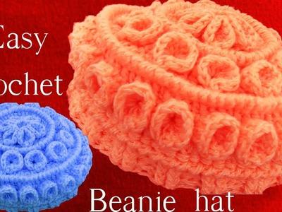 Como hacer Gorro Boina tejido a Crochet o Ganchillo con relieves en capas