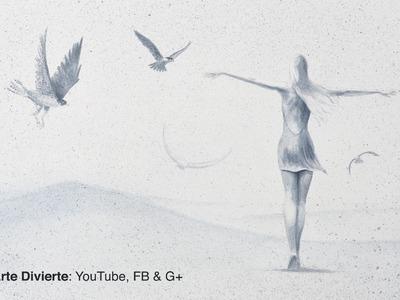 Cómo hacer una pintura surrealista: Mujer con halcones, en acuarela
