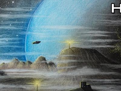 Dibujando un Paisaje Planetario con Lápices Pastel - Versión Rápida