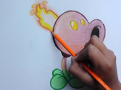 Dibujando y pintado Quemaguisantes (Plantas vs Zombies) - Drawing and painting Quemaguisantes