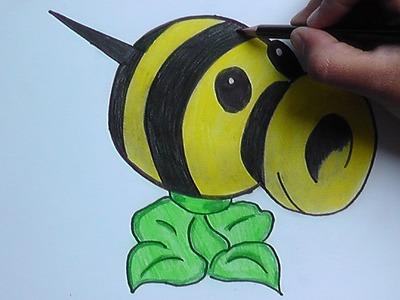 Dibujando y pintando a Lanza abejas (Plantas vs Zombies) - Drawing and painting to launch bees