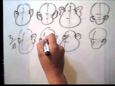 Dibujo Caricatura - dibujar cabeza de frente, 3.4, perfil ( por: Cartoonarte )