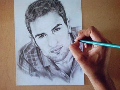 Dibujo de Theo James (Retrato a lápiz) How to draw Four Divergent. -Adonis Cuevas