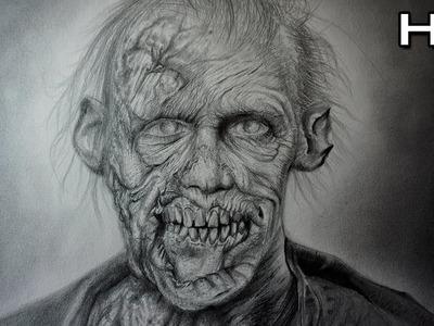 Increíble y Aterrador Dibujo de un Zombie Realista a Lápiz - Dibujando un Zombie