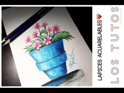 Lapices acuarelables dibujo ( FLORES ) - COMO USARLOS