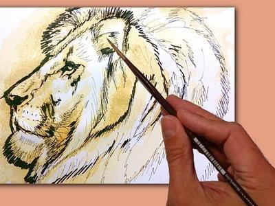 Pintar un León con Café y ejercicios de calentamientos antes de dibujar, tecnicas de dibujo