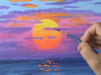 Pintar Un Sol Rojo A La Puesta Con Acrilicos Leccion de Pintura