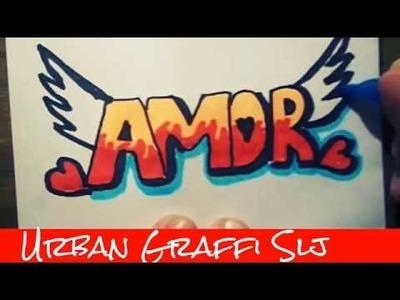 Speed Drawing Como dibujar graffitis de amor   como desenhar graffiti