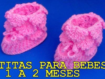 Botitas tejidos a crochet para bebes de 1 a 2 meses - paso a paso