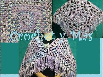 Capa o Poncho en cuadrados a Crochet