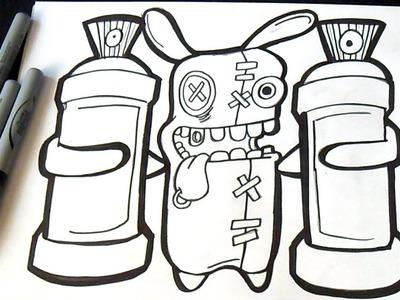 Cómo dibujar un Conejo Loco con dos latas de Spray | Graffiti | ZaXx