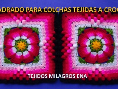 Cuadrado tejido a crochet paso a paso para Colchas, cojines y cobijas para Bebe con lanas de colores