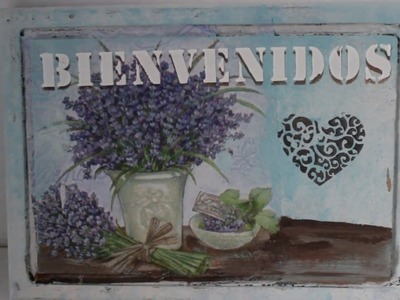 DIY -Tutorial - Cartel de bienvenida con decoupage y stencil en relieve