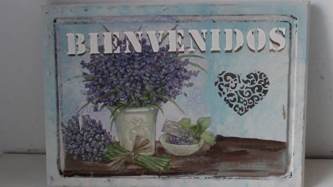 DIY -Tutorial - Cartel de bienvenida con decoupage y stencil en relieve