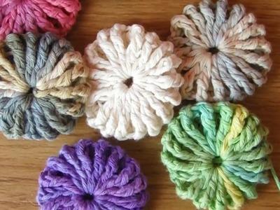 Flor puff (o flor yo-yo) a crochet