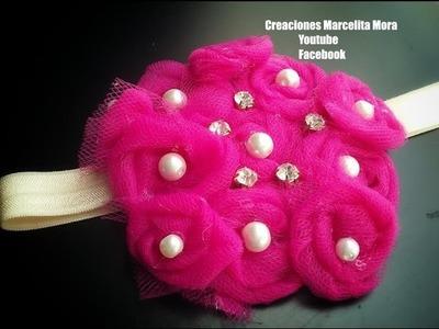 Flores de Tull Tiara- DIY-MK-Flower Tull Headband.