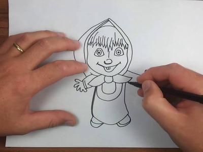 Masha  - Cómo dibujar Masha y el oso - #2