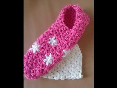 Punto jazmin a crochet con aumentos y disminuciones