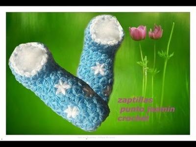 Zapatillas a crochet punto jazmin