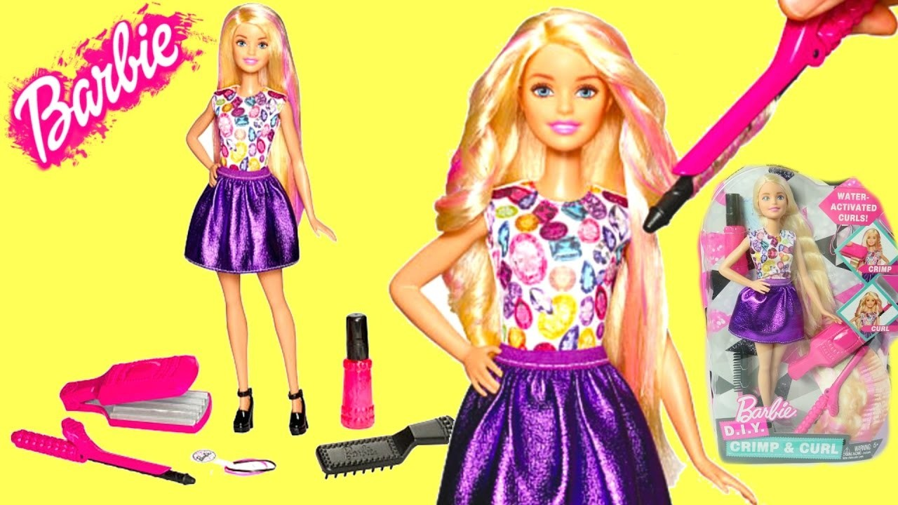 Barbie Peinados Rizos y Estilos de Cabello|Barbie DIY Crimp & Curl|Mundodejuguetes
