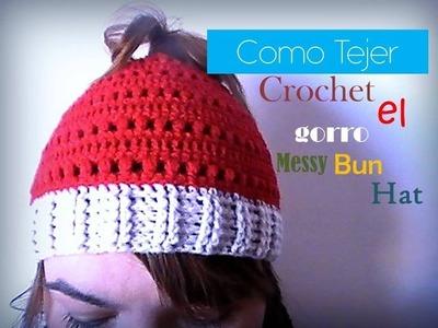 Como tejer a CROCHET el Messy Bun Hat (zurdo)