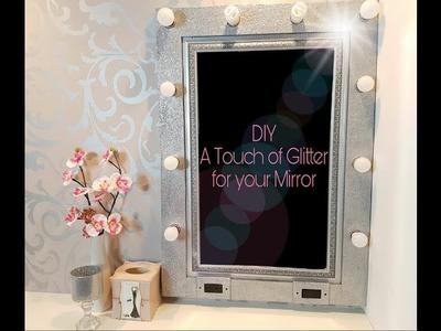 DIY Decora tu espejo con brillo.  Glitter Mirror