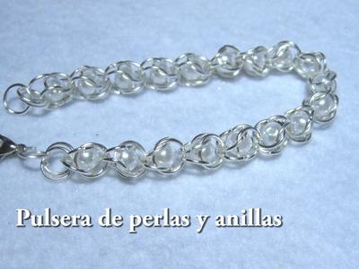 #DIY -Pulsera de perlas y anillas#DIY - Beads and rings bracelet