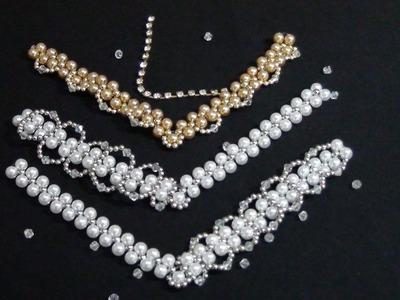 Diy -  Trama de pérolas e cristal - Pearl and crystal weave