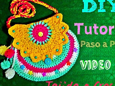 Bolsa para Niña Tejida a Crochet!! SUuUuPer Divertida!!-Video #1