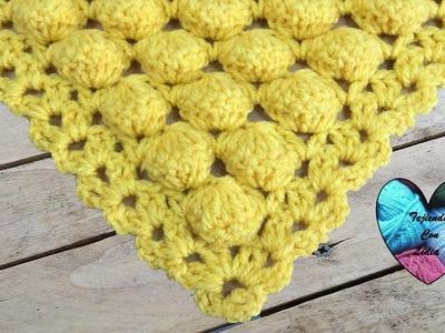 Chal con bolitas tejido a crochet muy facil de tejer