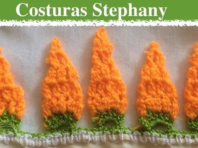 Como Hacer Gancho a la orilla a una servilleta paso a paso #66 Zanahorias
