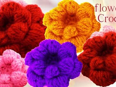 Como tejer flores esponjosas pom pom a Crochet o Ganchillo