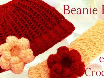 Como tejer gorro boina y diadema con flor a Crochet o ganchillo