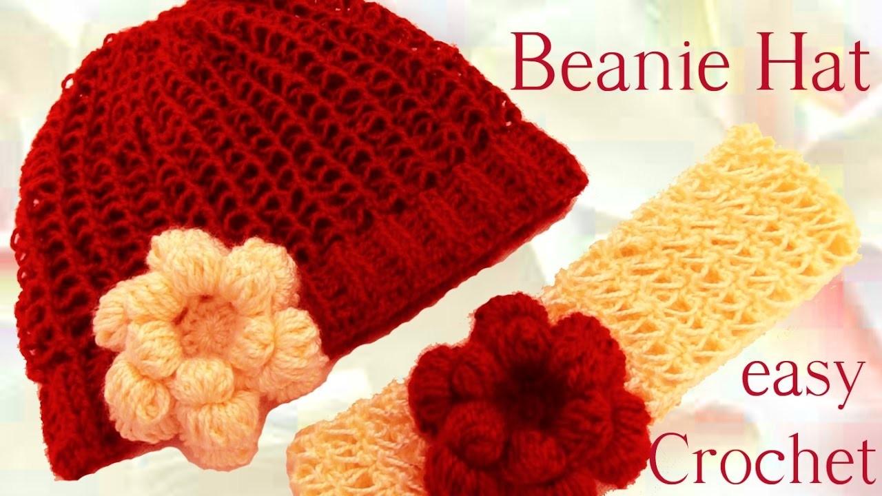 Como tejer gorro boina y diadema con flor a crochet o - Diademas de ganchillo ...