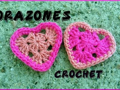 Corazones San Valentín en tejido crochet o ganchillo tutorial paso a paso.