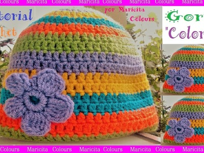 "Gorro a Crochet. Ganchillo ""Colores"" Tutorial por Maricita Colours"