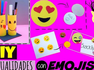 5 Manualidades con EMOJIS - DIY Mini Libreta Emoji, Portalápices, Sello Emoji,  Marcador de libros