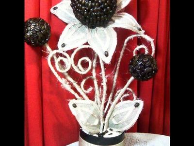 Arreglo floral con granos de café. DIY