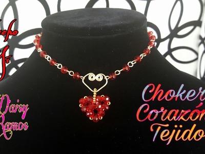 Choker Corazón Tejido, Fácil de hacer, DIY