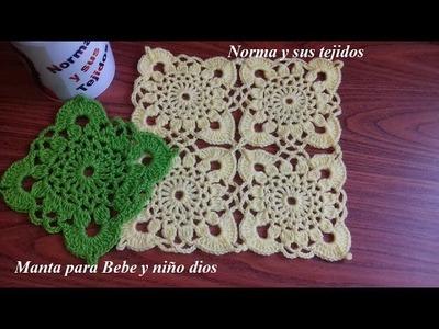 Colchita  o mantita con listón a crochet para bebe o tu niño Dios (parte 1)