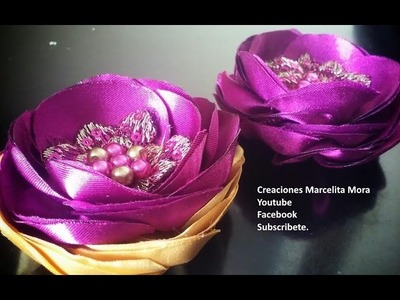Como Hacer Flores de Tela FACIL. How To Make Easy Fabric Flowers.DIY.