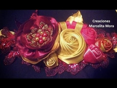 DIY-Flores Rosas y torbellino en Tiara -Elegante-How to make Flower Ribbon Headband Baby-