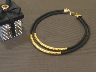 Haz un bonito Collar de Moda en negro y dorado DIY