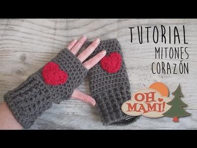 Mitones o guantes sin dedos a crochet con Corazones