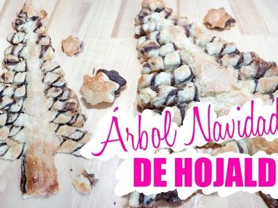 ÁRBOL DE NAVIDAD CON HOJALDRE RELLENO DE NUTELLA I Postre fácil y barato para Navidad ♥ Qué cositas