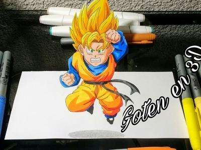Como Dibujar a Goten(3D)|VS Danny Drawing |Speed Drawing Goten|Pintando con marcador